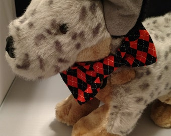 Orange Black Argyle dog bow tie, halloween dog bow tie, argyle bow tie, orange tie, black tie, diamond bow tie