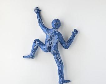 Climbing man, 3d wall art, Hanging wall sculpture, Rustic wall decor, Sport art, wall decor