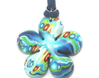 SPRING SALE Flower shaped necklace, polymer clay pendant in blue turquoise, green red and orange, elegant gift for women, girls and teens