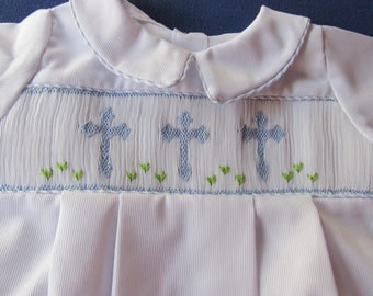 Hand made bubble smocked with crosses
