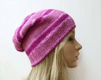 Cotton Slouchy Beanie Hat - Women Cotton Knit Hat - Hand Knitted Pink Slouch - Eco Friendly Spring Beanie - ClickClackKnits