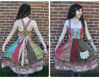 Tree of Life Patchwork Hippie Dress // Ooak Handmade Festival Dress with Pocket
