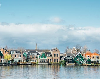 Village Photography Print, Cloudy Blue Skies, Dutch Houses, European Travel Photography, Landscape Large Photo, Holland, Netherlands, Cute