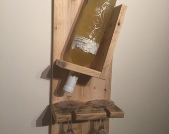 Upcycled, wine bottle and glass holder