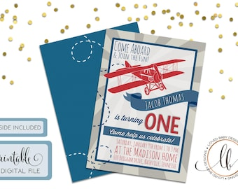Vintage Airplane Birthday Invitation - DIY, Printable