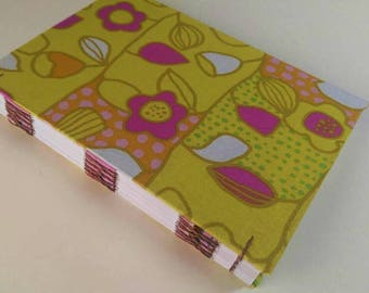 Blank Book, Writing Journal, Travel Journal, Notebook, Guestbook, Diary, Cardstock Paper, Blank Notebook, Green and Pink, 5 1/2 x 8 1/2 in