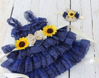 Navy Flower Girl Dress Sunflower Navy Sash Headband Navy Rustic Country Flower Girl Dress Country Flower Girl Dress Navy Jr Bridesmaid Dress