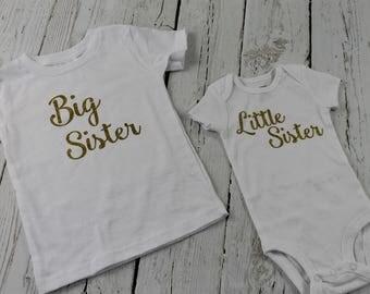 Big Sister Little Sister Shirts  Bodysuit or Tshirt Announcement shirt Matching shirts Short or Long Sleeves Big Sis Lil Sis Girls Shirts