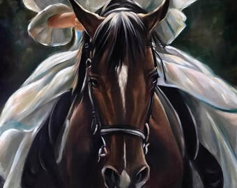 "PRINT of original oil painting Equestrian Equine Horse ""Heaven Sent"" / Mary Sparrow of Hanging the Moon Studio"