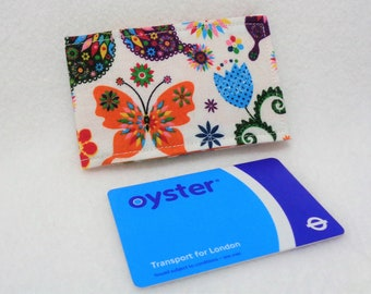 Rainbow Butterfly Design Oyster Card Holder - Credit Card Holder - Business Card Holder - Gift Card Purse - Travel Wallet - Gift for Her