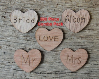 500 Piece Combo Pack 1 inch Wood Hearts, Wood Confetti Engraved Hearts- Rustic Wedding - Table Decorations- Love Mr