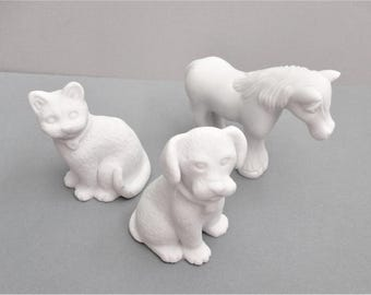 Three Unpainted Bisque Animal Figurines Fired and Ready to Paint Dog / Puppy Cat / Kitten Horse White Bisque DIY Figurines Craft Supply