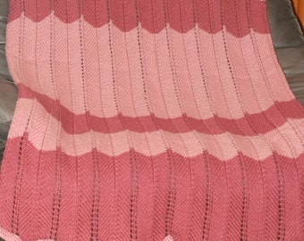 Pink Scalloped Crochet Afghan