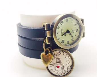 leather watch woman with cabochon