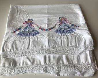 Two Vintage Pillowcases, Girl's Room Decor, Embroidered Pillowcases, 100 % Cotton