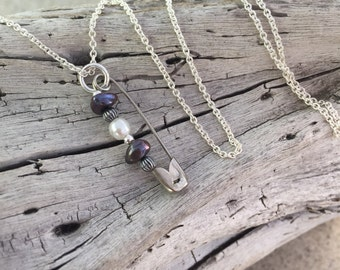 Silver and Pearl Safety Pin Necklace