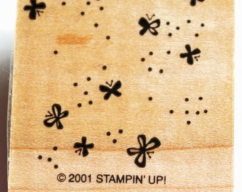 Dots and Mini Butterflies Background Rubber Stamp retired from Stampin Up