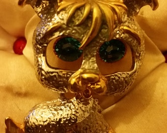 Unusual Puppy Dog Costume Brooch With Dangling Eyes