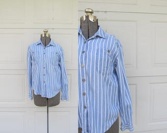 1990s striped chambray shirt, white and chambray striped, vintage denim shirt, S