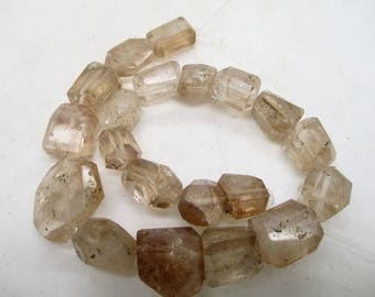 Stunning 8 inch Champagne Color hand faceted polished Topaz Beads strand Pakistan T20