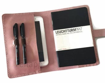 Pink Distressed Leather A5 Notebook Folder, A5 Notebook Cover, Cover for Moleskine and Leuchtturm 1917, Leather iPad Mini Portfolio.