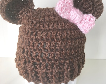 3-6 month baby hat, crochet baby girl bear hat with bow, baby girl hat, bear hat, crochet baby hat