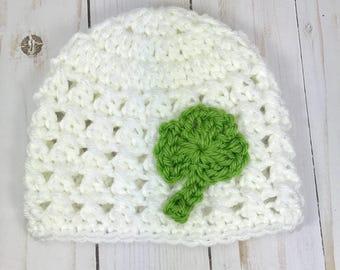 Newborn hat, crochet baby hat, shamrock hat, baby hat, newborn baby hat