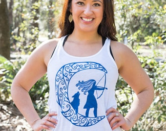 Greek Goddess Archer Artemis Yoga Tank Top | Greek Mythology Goddess Artemis Tank | Unique Yoga Wear | Wolf Tank | Archery Tank | Yoga Gift