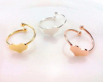 Choose silver or rose gold dainty heart ring. Elegant and dainty love heart ring