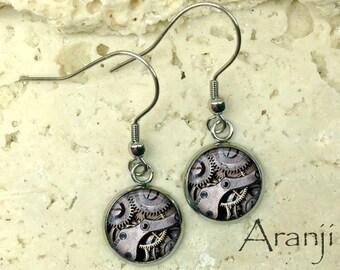 Glass dome earrings, steampunk gear earrings, gear earrings, clockwork earrings, gear drop earrings, seampunk dangle earrings, gears HG169DP