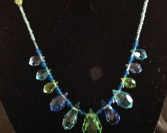 Vintage Multi Teardrop Crystal Necklace