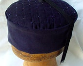 Custom Order - Navy Corduroy Smoking Cap Victorian Style Quilted and Beaded - No Tassel