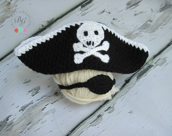 Newborn Crochet Pirate Hat with eye patch Crochet Baby Pirate Outfit Photo Prop