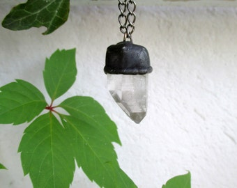 Raw Stone Energy, Crystal Necklace, Natural Clear Quartz, Raw Necklace, Tiffany method,