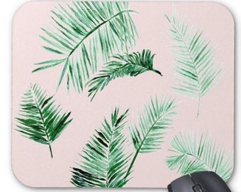 Pink Palm Leaf Mousepad, palm leaf mousepad, pink mouse pad, palm leaf mouse pad, blush mousepad, pink palm leaf mouse, pink palm leaf pad
