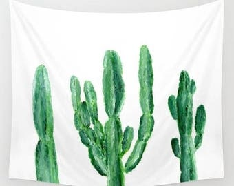 Cactus Wall Tapestry, plant wall tapestry, modern wall tapestry, green white tapestry, minimal tapestry, cactus wall hanging