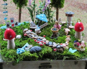 Complete Fairy Garden Kit with Container, Alice in Wonderland  Theme, Handmade Items, Unique. Tasteful and Adorable, FREE shipping