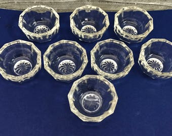 8 Vintage Glass Salt Cellars