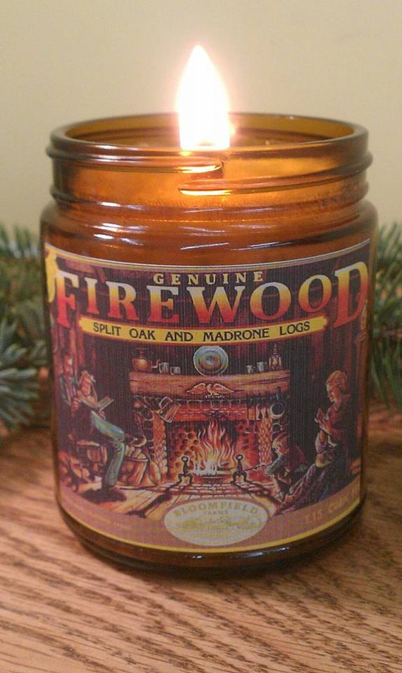 FIREWOOD - Authentic Wood Burning Wood Wick Fireplace Candle 9 oz - Vintage Label