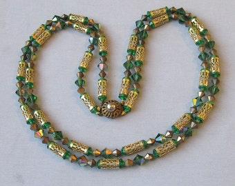 Gorgeous Vintage 2-Strand Green Aurora Borealis Crystal & Gold Tone Filigree Tube Bead Necklace