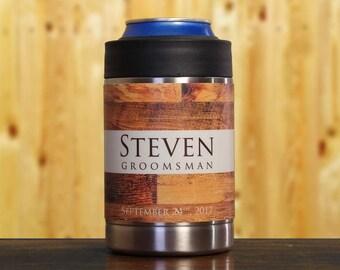 Groomsman Gift, Personalized Beverage Holders, Set of 3, Rustic Wedding