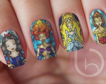 Nail art etsy disney princess stained glass waterslide nail decal nail design nails press on nail prinsesfo Images