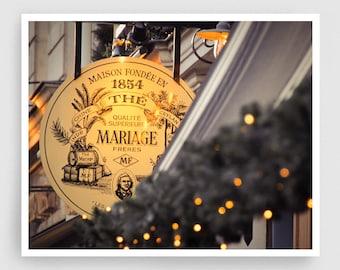 Paris photography - Maison De Thé - Paris bar,Christmas,Fine art photography,Paris decor,yellow,white,Fine art prints,Art Posters