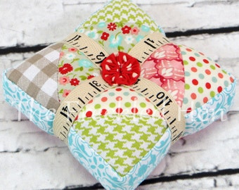 Pincushion pieced quilted handmade square pincushion sewing notion ground walnut shells quilting notion ready to ship free shipping