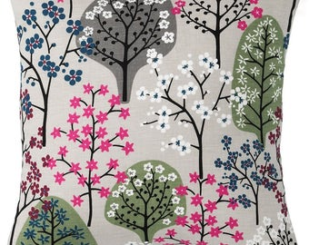 Pillow cover Linen natural pink green black Trees flowers Herbs Botanical Decorative pillow for Throw pillows Floor Cushions Accent Pillows