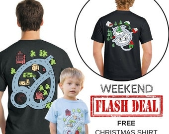 FLASH DEAL Father Son Matching Race Track Shirts and FREE Christmas Shirt. Dad and Son Car Play Mat Toy For Toddler. Gift for Dad and Son