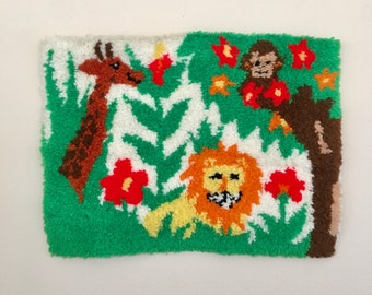 vintage latch hook animals jungle A. Hill 1973 nursery decor