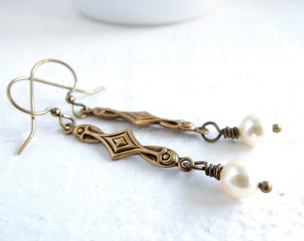Art Nouveau Pearl Drop Earrings Delicate Simple Pearl Earrings Downton Abbey Style Pearl Dangles Classic Vintage Inspired Wedding Jewelry