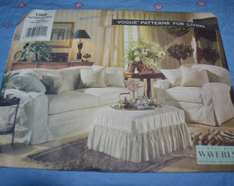 """Vogue 1388 """"Patterns for Living""""  Slipcovers Sewing Pattern - UNCUT - Slipcovers for Sofa , Chair and Ottoman"""