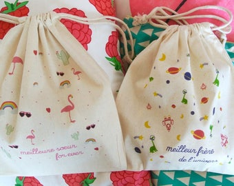 Pouch sister / brother in cotton - birth gift gift big brother big sister